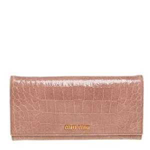 Miu Miu Beige Croc Embossed Patent Leather Flap Continental Wallet