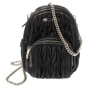 Miu Miu Black Matelassé Leather Micro Backpack