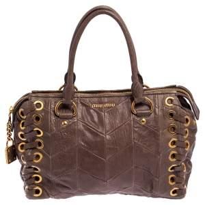 Miu Miu Brown Chevron Leather Grommets Satchel