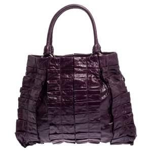 Miu Miu Purple Leather Nappa Tote