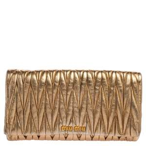 Miu Miu Gold Matelassé Leather Flap Clutch