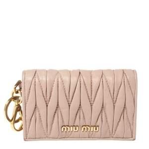 Miu Miu Beige Matelassé Leather Flap Compact Card Case