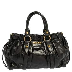 Miu Miu Black Vitello Lux Leather Gathered Tote