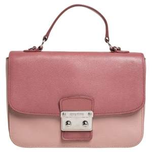 Miu Miu Two Tone Pink Madras Leather Push Lock Flap Top Handle Bag