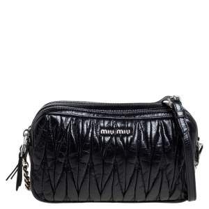 Miu Miu Black Shine Matelasse Leather Double Zip Crossbody Bag