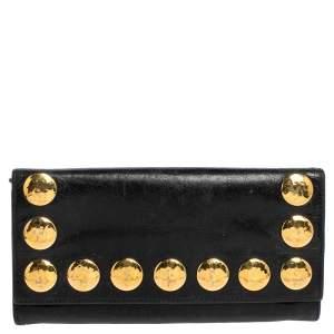 Miu Miu Black Crackled Leather Studded Continental Wallet