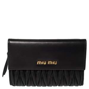 Miu Miu Black Matelasse Leather Flap Compact Wallet