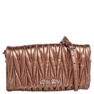 Miu Miu Metallic Bronze Matelasse Leather Flap Crossbody Bag