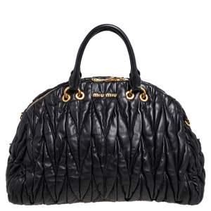 Miu Miu Black Matelasse Leather Dome Satchel
