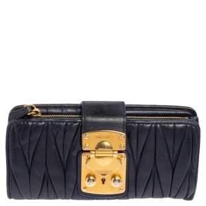 Miu Miu Navy Blue Matelassé Leather Clasp Lock Continental Wallet