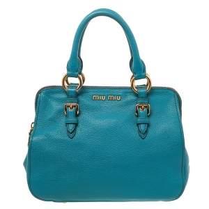 Miu Miu Blue Madras Leather Zip Satchel