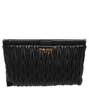 Miu Miu Black Matelassé Leather Frame Clutch Bag