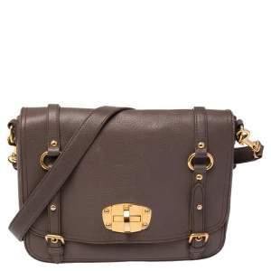 Miu Miu Grey Leather East West Pattina Cervo Messenger Bag