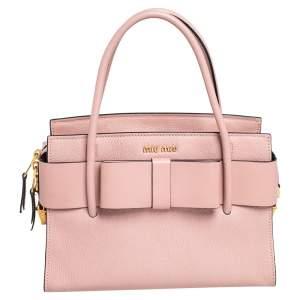 Miu Miu Pink Leather Madras Fiocco Bow Tote