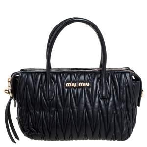 Miu Miu Black Matelassé Leather Small Convertible Satchel