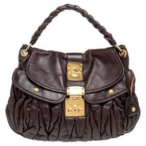 Miu Miu Burgundy Matelassé Leather Coffer Hobo