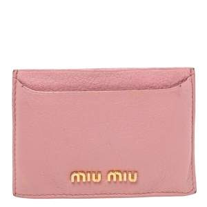 Miu Miu Pink Madras Leather Card Holder
