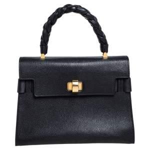 Miu Miu Black Madras Leather Click Braided Top Handle Bag