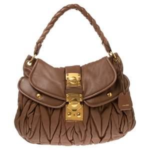 Miu Miu Brown Matelassé Lux Leather Coffer Hobo