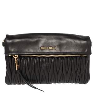 Miu Miu Black Matelassé Leather Fold Over Clutch