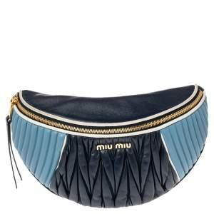 Miu Miu Tri Color Matelassé Leather Rider Belt Bag