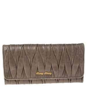 Miu Miu Khaki Green Matelasse Leather Continental Wallet