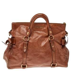 Miu Miu Brown Vitello Lux Leather Bow Top Zip Tote