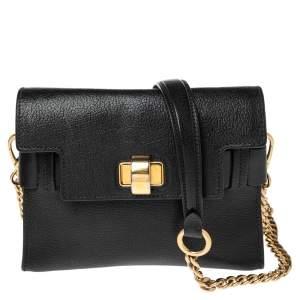 Miu Miu Black Madras Leather Click Flap Shoulder Bag