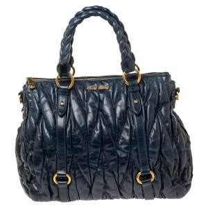 Miu Miu Navy Blue Matelassé Leather Tote