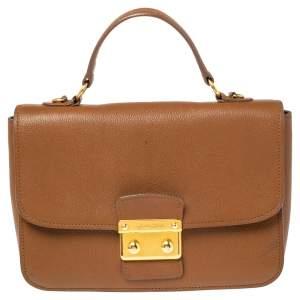 Miu Miu Brown Madras Leather Push Lock Flap Top Handle Bag