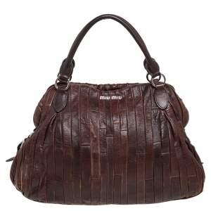 Miu Miu Brown Pleated Leather Tote