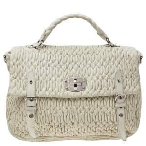 Miu Miu White Matelassé Nappa Leather Turnlock Top Handle Bag