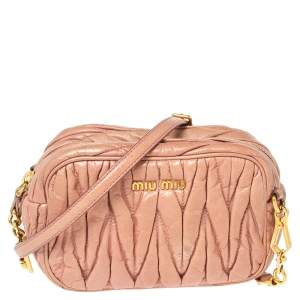 Miu Miu Pink Matelassé Leather Camera Shoulder Bag