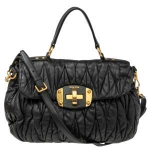 Miu Miu Black Matelassé Leather Turnlock Top Handle Bag