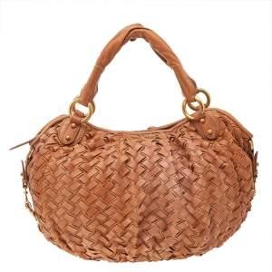 Miu Miu Brown Woven Leather Zip Hobo