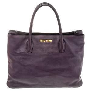 Miu Miu Purple Madras Leather Tote