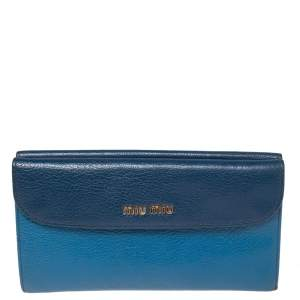 Miu Miu Two Tone Blue Leather Flap Wallet