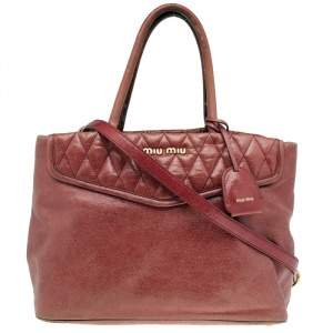 Miu Miu Pink Crackle Leather Top Zip Tote