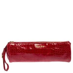 Miu Miu Red Croc Embossed Patent Leather Zip Wristlet Clutch