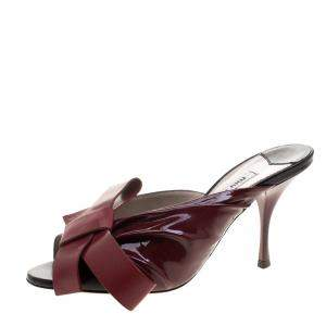 Miu Miu Two Tone Leather Peep Toe Bow Mules Size 36