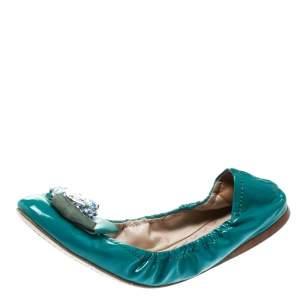 Miu Miu Blue Patent Leather Jeweled Ballet Flats Size 40
