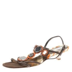 Miu Miu Multicolor Leather Ankle Strap Flat Sandals Size 37