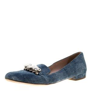 Miu Miu Blue Light Wash Denim Crystal Embellished Flats Size 39
