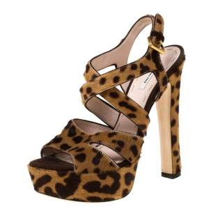 Miu Miu Brown Leopard Print Calf Hair Criss Cross Ankle Strap Platform Sandals Size 37