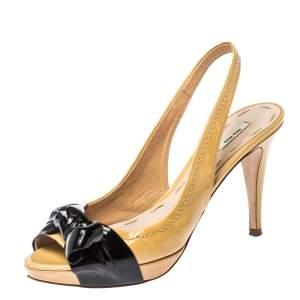 Miu Miu Beige Patent Leather Bow Slingback Peep Toe Sandals Size 37