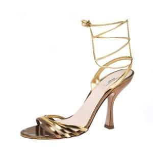 Miu Miu Metallic Gold Leather Ankle Wrap Sandals Size 38
