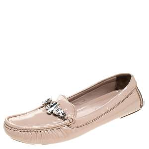 Miu Miu Beige Patent Leather Embellished Loafers Size 38