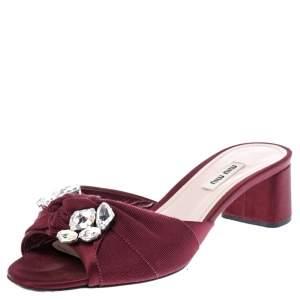 Miu Miu Burgundy Satin Crystal Embellished Open Toe Sandals Size 39.5
