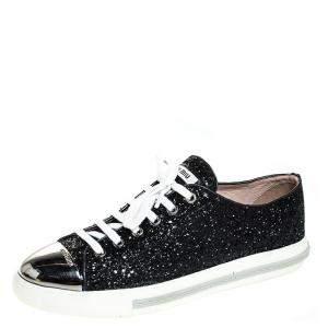 Miu Miu Black Glitter And Metal Cap Toe Low Top Sneakers Size 39