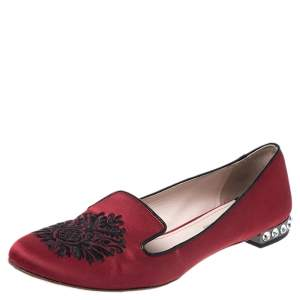 Miu Miu Red Satin Embroidered Crystal Studded Smoking Slippers Size 38.5